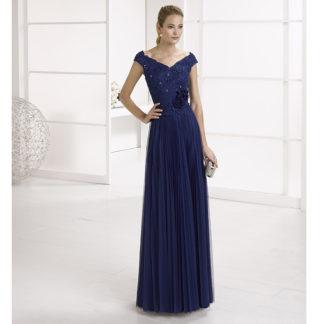 vestido azul noche cuello en V