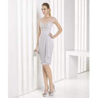 Vestido gris perla en tul bordado