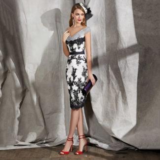 Vestido corto de fiesta estampado en plumetti blanco y negro