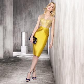 Vestido corto amarillo dorado de fiesta en encaje plata
