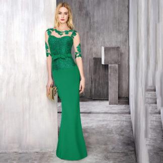 Vestido verde menta de talle bajo