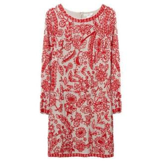 vestido fiesta estilo túnica corto bordado pedreria