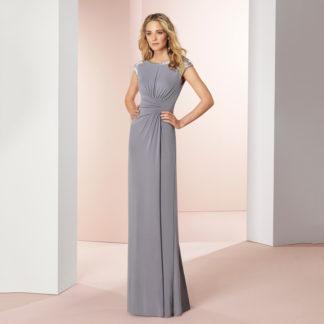 vestido de fiesta gris en punto de seda de Couture Club