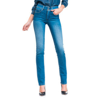 "Jeans azul medio pitillo efecto ""push-in"" tacto suave"