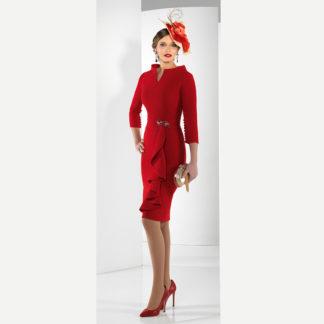 Vestido corto rojo con escote leticia y manga francesa