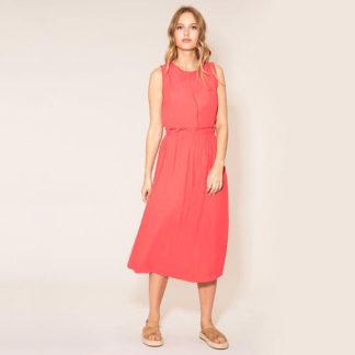 Vestido midi sin mangas con encaje en la espalda color coral