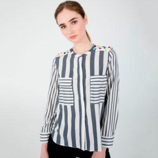 blusa rayada con pompones multicolor en hombros