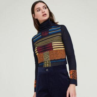 jersey negro señora cuello alto con estampado geometrico de Andomartins