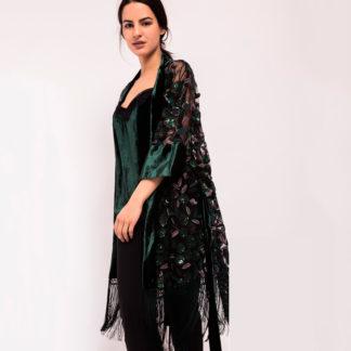 kimono de Alba Conde en organza bordada, terciopelo y flecos de seda