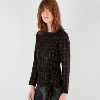 blusa joven en negro con cuadros ventana de kookai