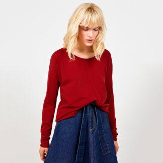 camiseta de lineas amplias en rojo oscuro de American Vintage