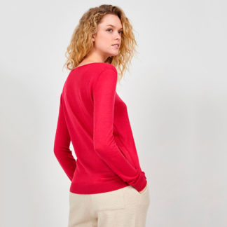 jersey de punto muy fino de mujer en color rojo fresa de American Vintage