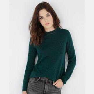 jersey verde cuello crochet de kookai