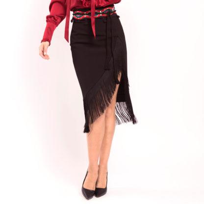 Falda negra de crep con flecos 6206 402 20 02 AC