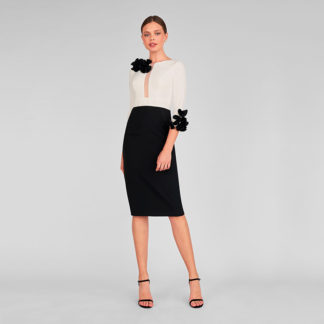 vestido corto bicolor blanco/negro 1354 katy