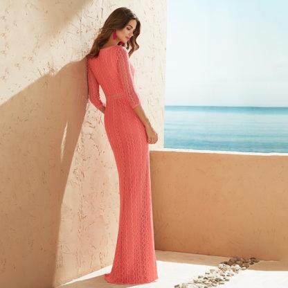 Vestido de fiesta largo encaje coral 3J1D2 MARFIL