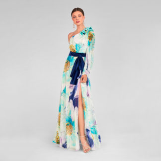 Vestido escote asimétrico de flores 411339 Celia MARIA LAGO
