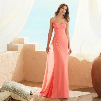 vestido fiesta asimétrico gasa coral de dama de honor