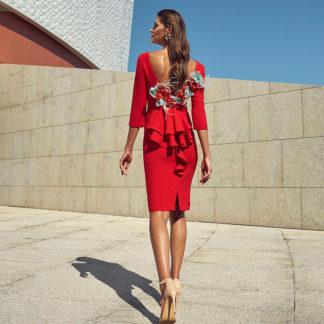 Vestido fiesta corto rojo 95706 CARLA RUIZ