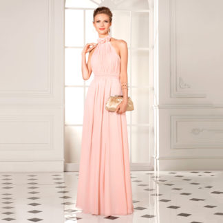 Vestido fiesta largo gasa rosa 308145 SUSANNA RIVIERI