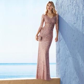 Vestido fiesta largo pedreria rosa maquillaje 3J1B9 MARFIL