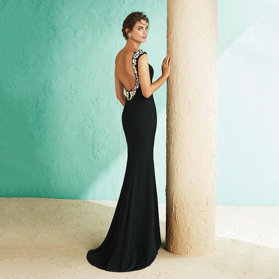Vestido fiesta largo sirena negro con bordado multicolor 3J131 MARFIL
