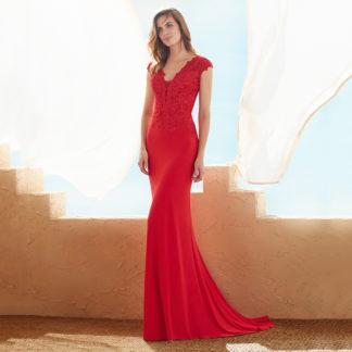 Vestido fiesta largo sirena rojo 3J162 MARFIL