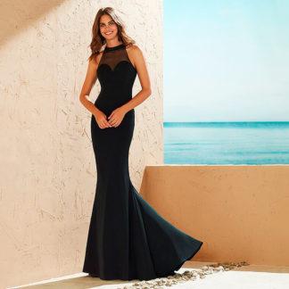 vestido de noche negro silueta sirena Marfil