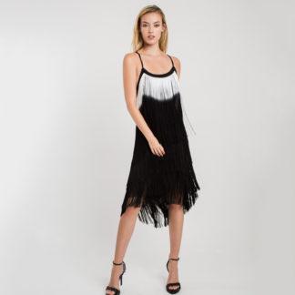 Vestido flecos bicolor 3425 828 ALBA CONDE FIESTA