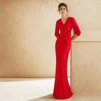 Vestido largo encaje rojo 3J174 MARFIL