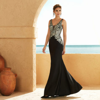 Vestido largo negro/plata 3J265 MARFIL