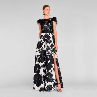 Vestido print floral negro/blanco plumas 411348 Deo MARIA LAGO