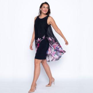 Vestido marino corto con sobre capa estampada ab21a0f8617a