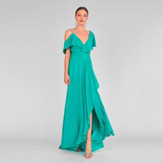Vestido esmeralda cuerpo cruzado