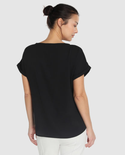 Blusa negra manga corta strass 19S210452 ESCORPION.