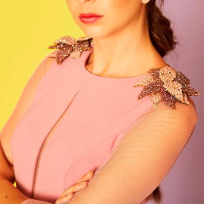 vestido madrina de crepe rosa de Sara Ruiz