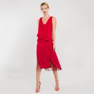 Vestido midi asimétrico rojo cereza 3402 827 ALBA CONDE