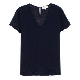 Camiseta marino con remates bordados GRACE & MILA
