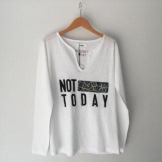 camiseta blanca manga largar print not to day de gerry