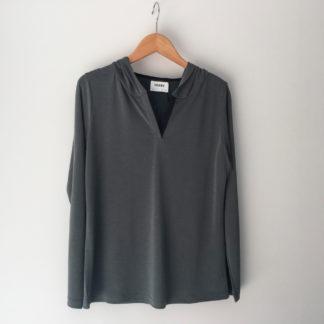 camiseta manga larga con capucha de trovels para mujer
