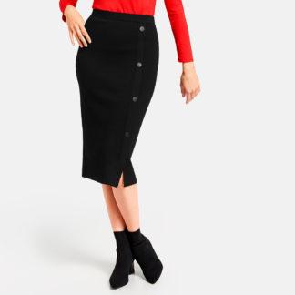 Falda negra con botones laterales