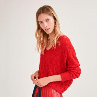 Jersey rojo con calados geometricos Suncoo
