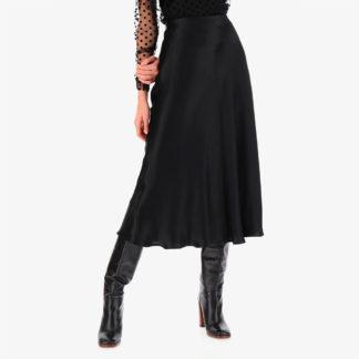 Falda negra de satén imperial fashion mujer