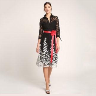 Vestido de fiesta corto hojas bordadas Alba Conde Fiesta