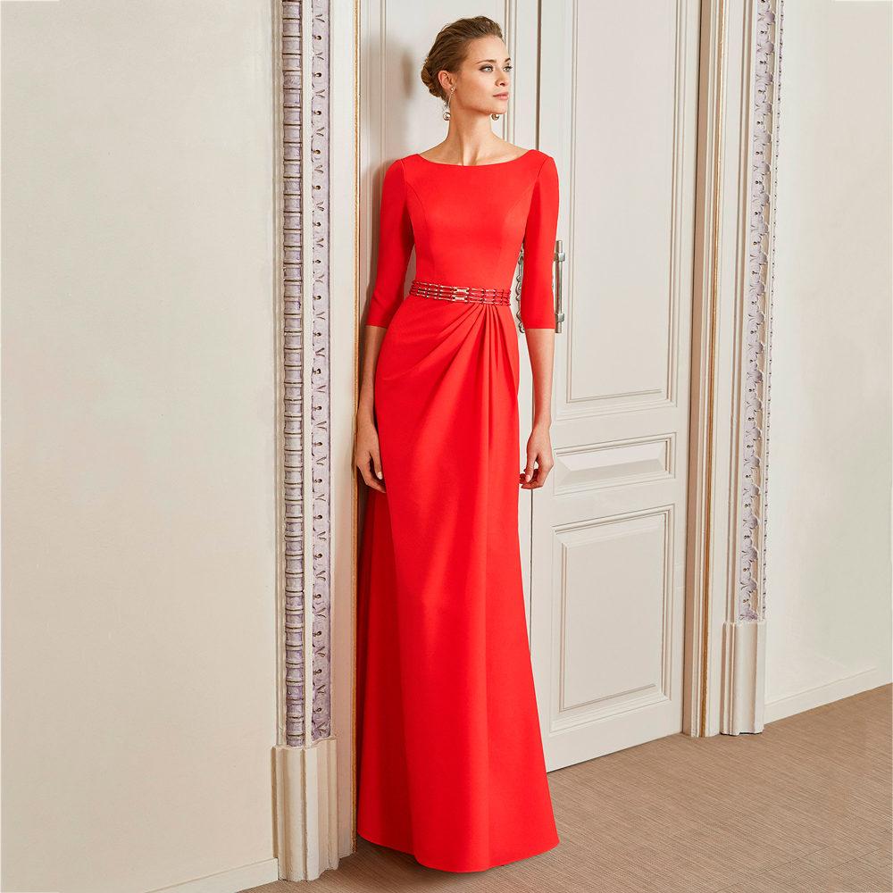 Vestido fiesta crepe con falda con recogido Couture Club