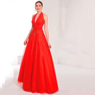 Vestido de fiesta rojo cuello halter y falda de tul