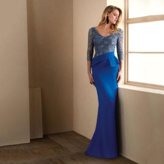 Vestido largo de fiesta con cuerpo joya y falda sirena Valerio Luna