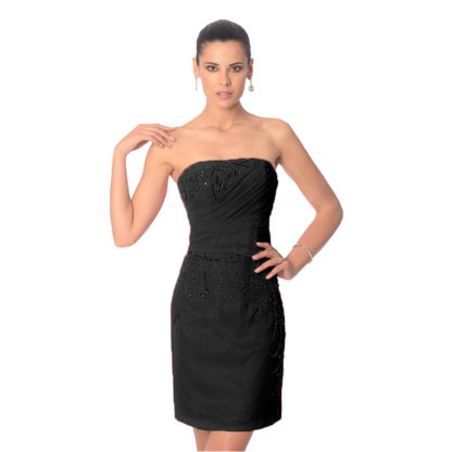 vestido de fiesta palabra de honor en gasa color negro de Koton