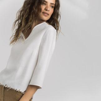 Blusa sarga cruda bordado contraste Alba Conde