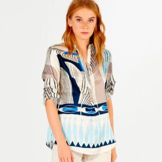 Bluson en seda natural con estampado geometrico Vilagallo